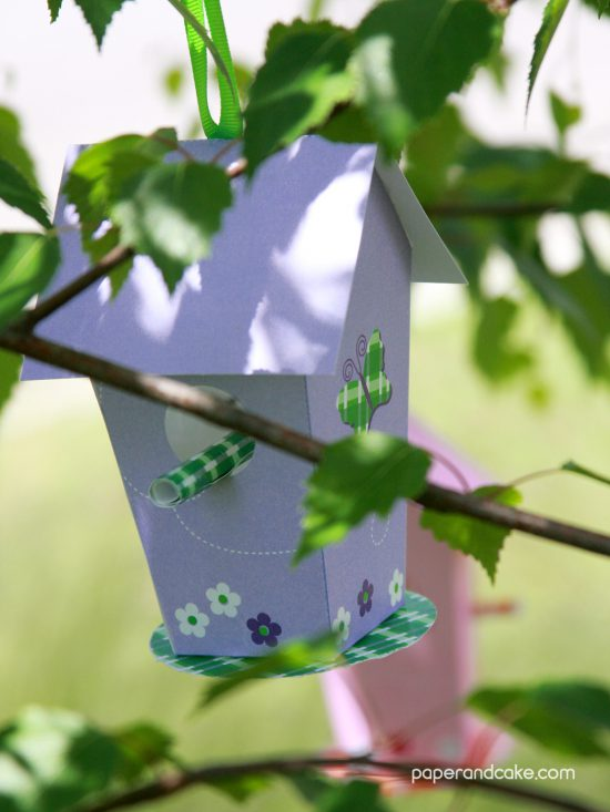 paper birdhouse free download from paper & cake