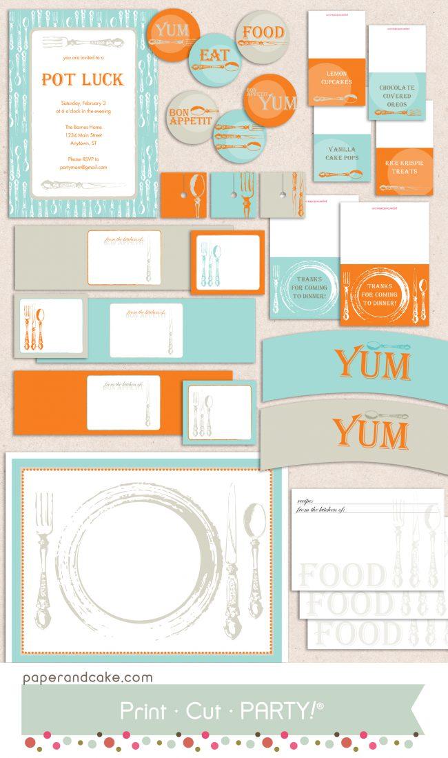 bon appetit printable party set