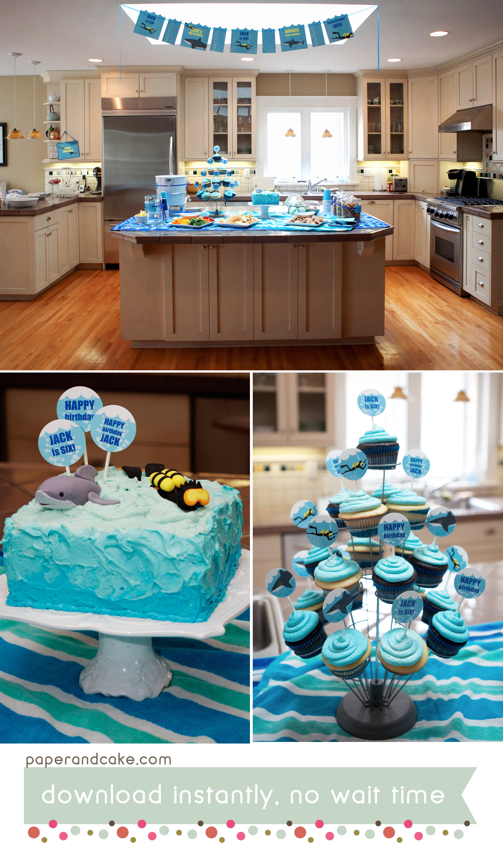photograph about Printable Cake Paper identify Shark and SCUBA Printable Birthday Bash