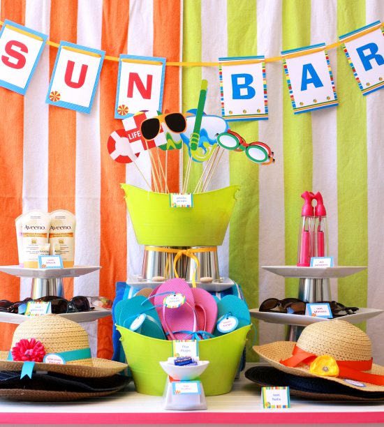 Summer Beach Tablescape And A Summer Tablescape Party: Pool Swim Printable Party And Tablescape