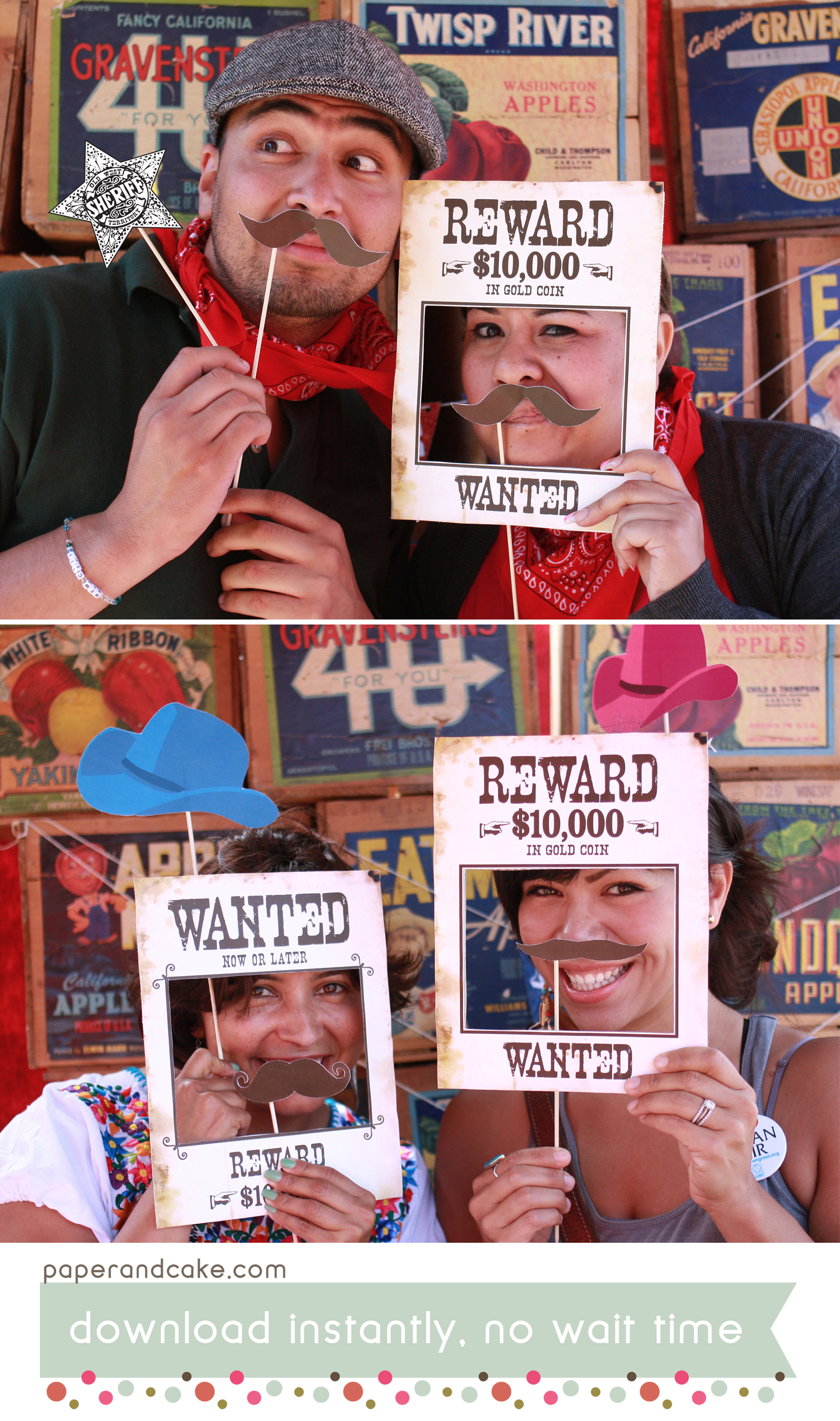 Wild West Printable Photo Booth Props Paper And Cake Paper And Cake