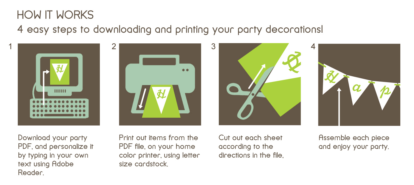 Printable Birthday Decorations Paper and Cake Paper and Cake