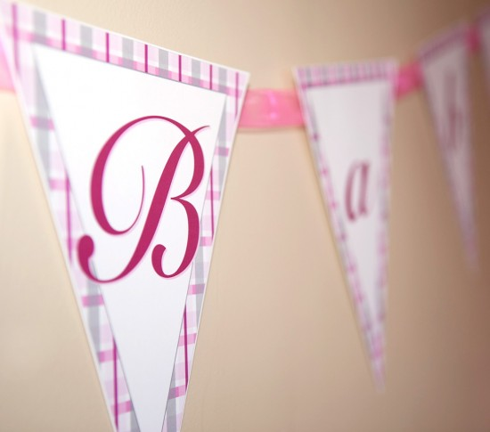 pink plaid printable baby shower