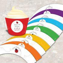 Rainbow of Bugs Cupcake Wraps