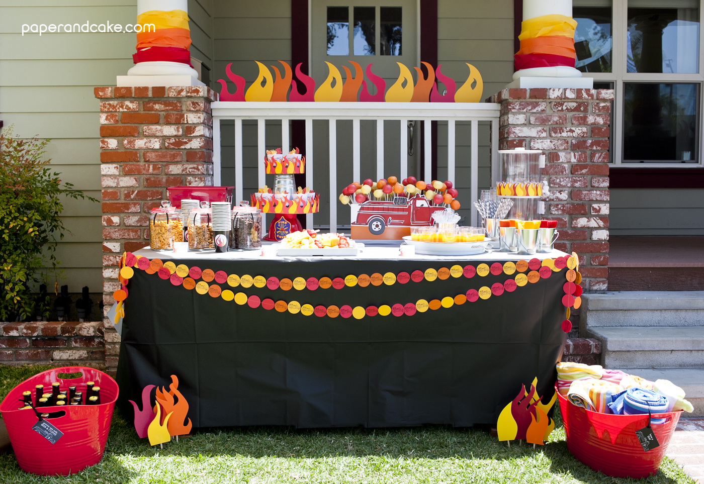 Fire truck printable birthday party paper and cake