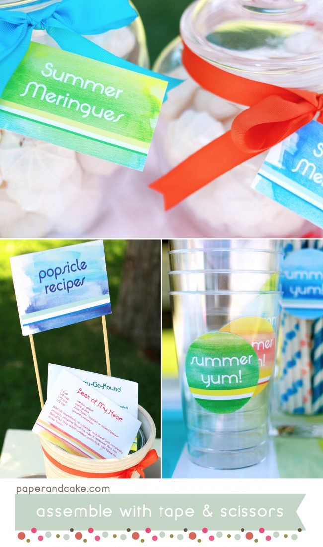 Summer Watercolor Popsicle Printable Party