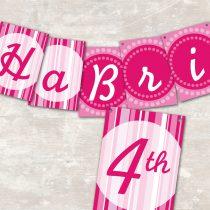 Pink Polka Dot Pennant Banner