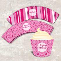 Pink Polka Dot Cupcake Wraps
