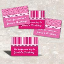 Pink Polka Dot Favor Bag Toppers