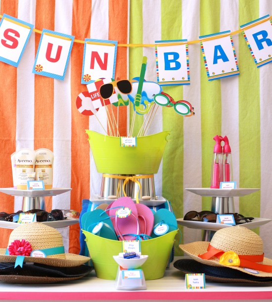 Sun Pool Swim printable party decorations and supplies