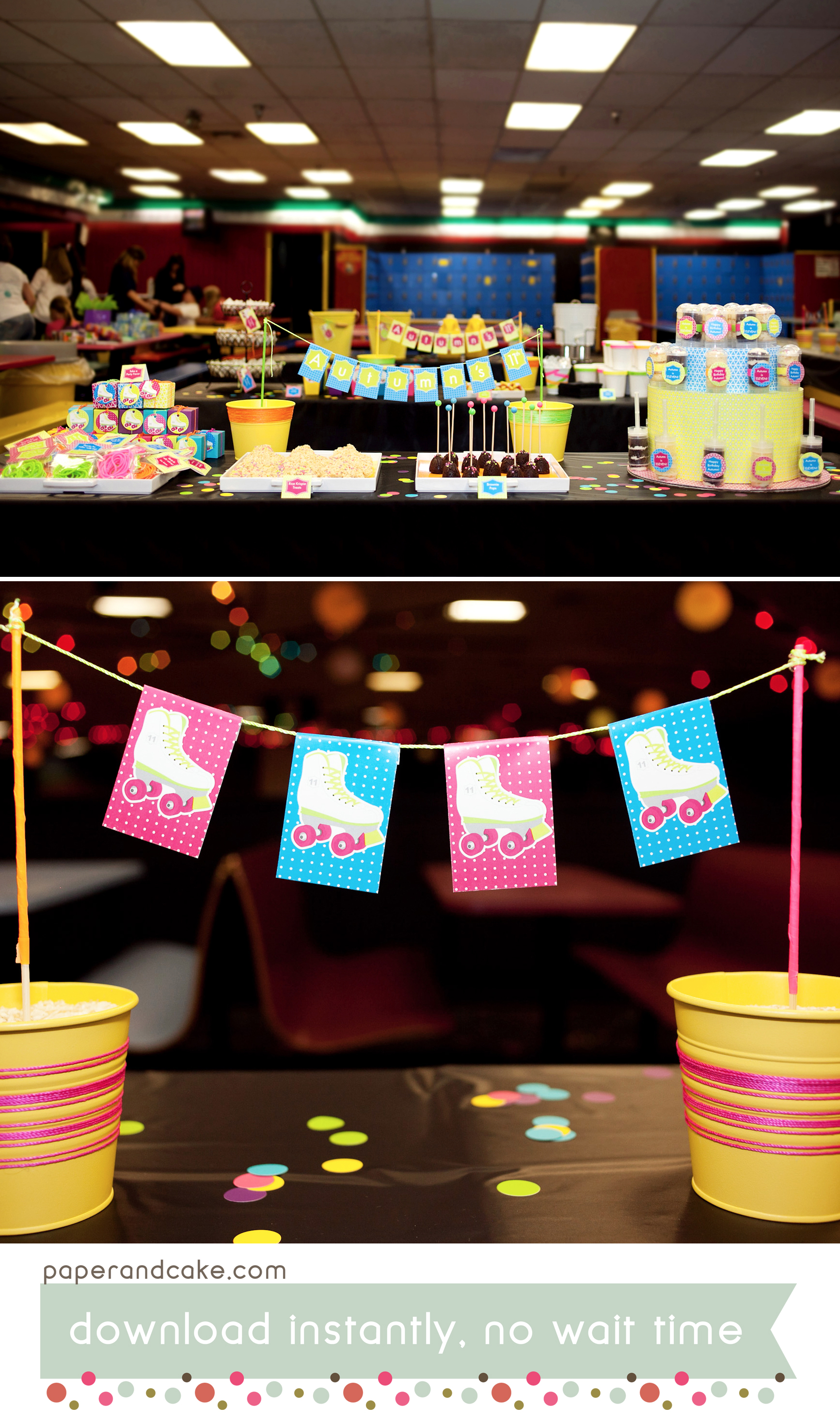 Neon Roller Skate Printable Birthday Party Paper And Cake Paper