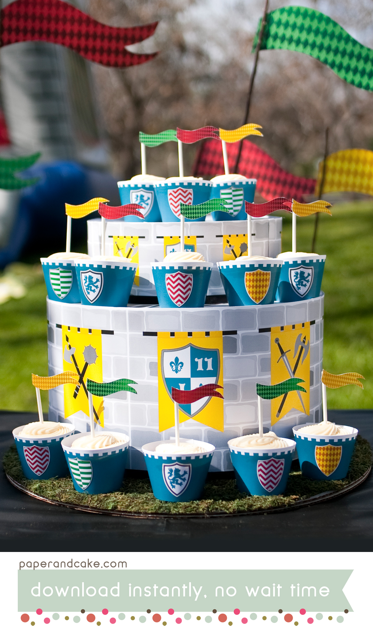 Marvelous Medieval Knights Castle Printable Birthday Party Paper And Cake Funny Birthday Cards Online Overcheapnameinfo