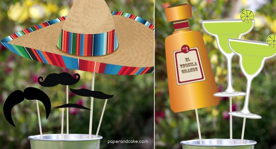 Fiesta Cinco de Mayo printable Photo Booth Props Mustaches on a stick