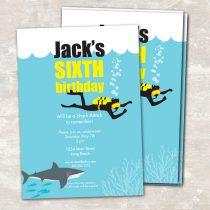 Shark and Scuba Invitations