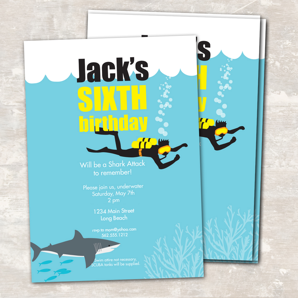 Shark And Scuba Printable Birthday Party Paper And Cake