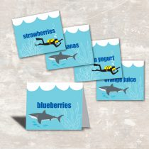 Shark and Scuba Party Food Labels