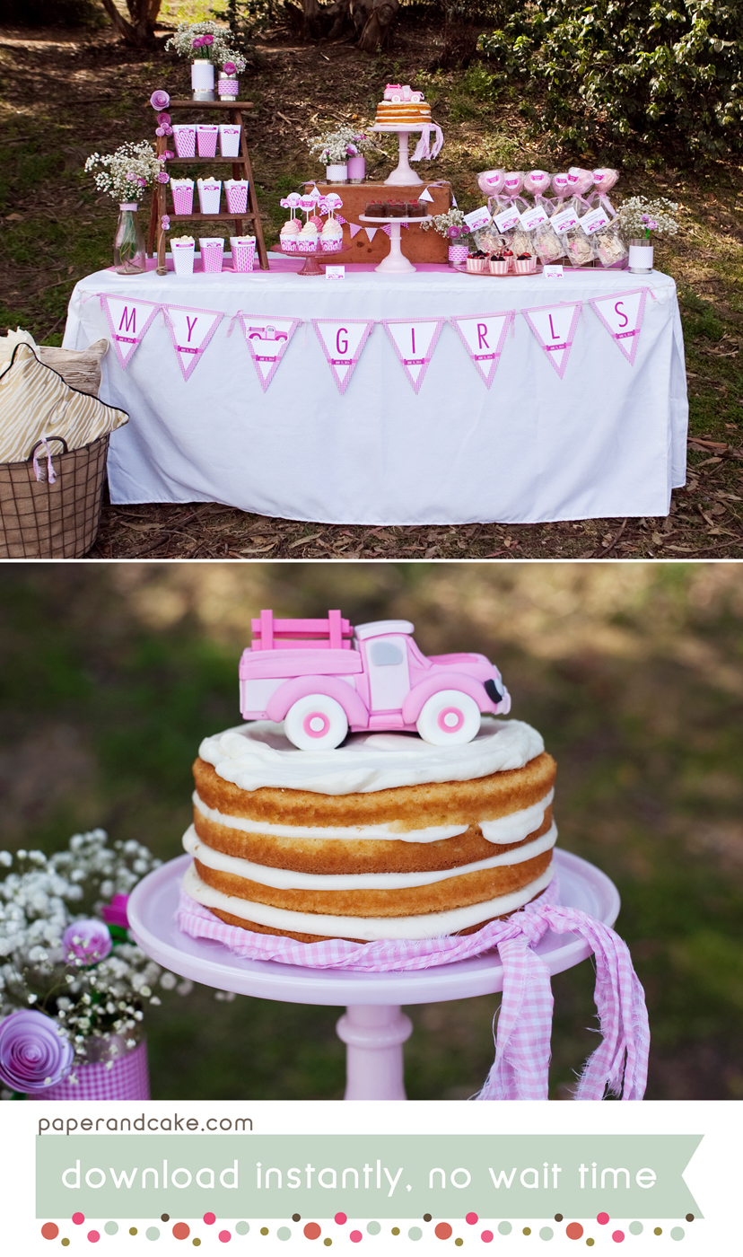Pink Vintage Pickup Truck Printable Party Paper And Cake