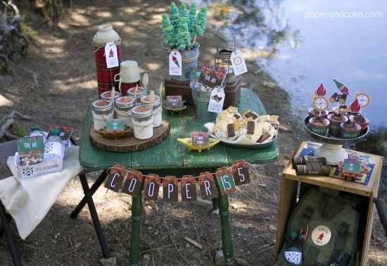 Little Outdoorsman Printable Birthday Party Invitation and Decorations
