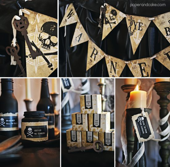 Haunted Pirate Halloween Printable Party Invitation and Decorations