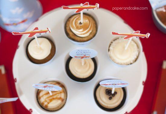 Airplane Birthday Printable Party cupcakes