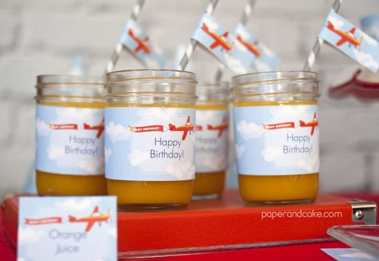 Airplane Birthday Printable Party drink wraps