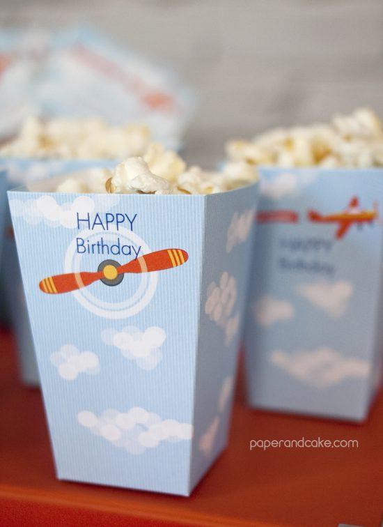 Airplane Birthday Printable Party popcorn