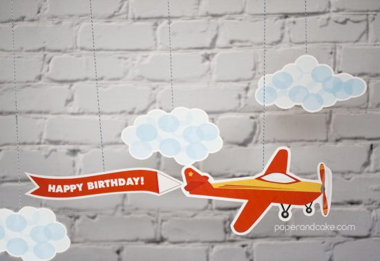 Airplane Birthday Printable Party silhouette