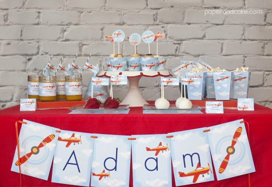Airplane Birthday Printable Party tablescape