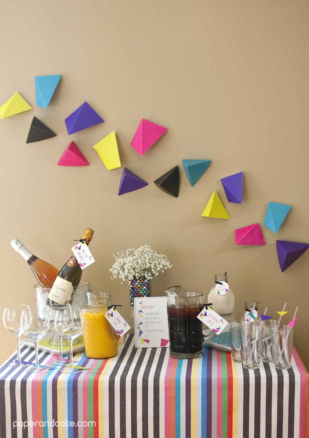 Geometric Triangular Printable Party Paper And Cake
