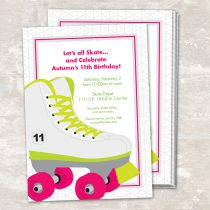 Neon Roller Skate Invitations