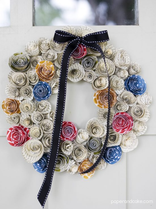 FREEBIE Friday from Paper & Cake Paper Flower Fall Wreath front door final