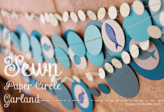 Sewn Paper Circle Garland