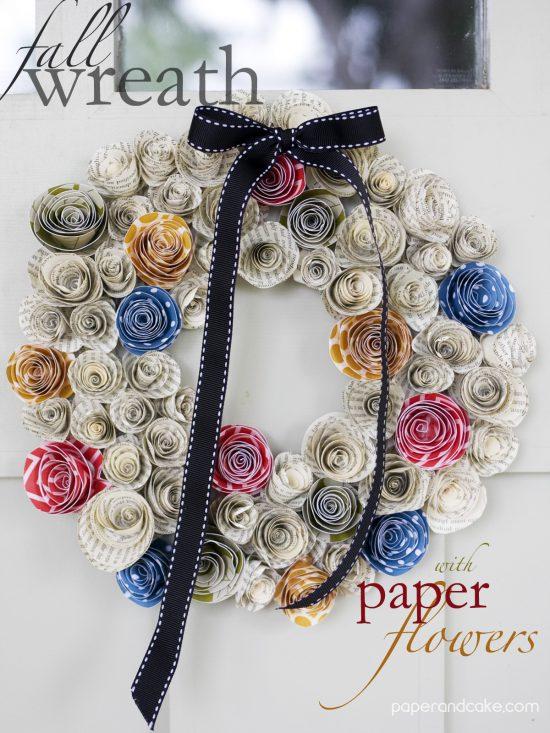 FREEBIE Friday from Paper & Cake Paper Flower Fal Wreathpinterest final