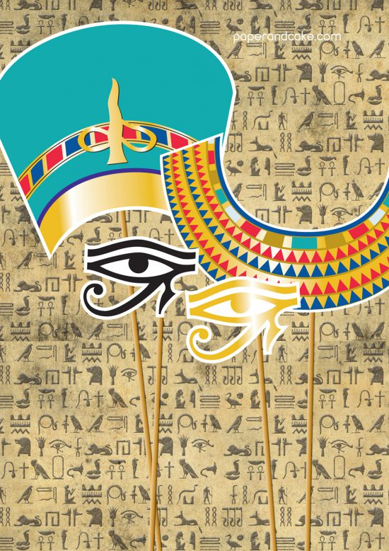 EGYPTIAN photo booth props halloween costume party theme printable by paper and cake queen nefertiti