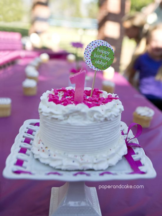 Paper and Cake Printable colorful polkda dot birthday party cake one