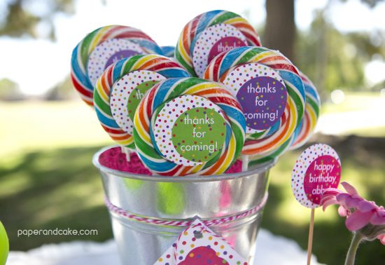 Paper and Cake Printable colorful polkda dot birthday party lollipops