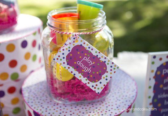 Paper and Cake Printable colorful polkda dot birthday party playdough