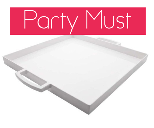 Zak Designs square white serving tray party must