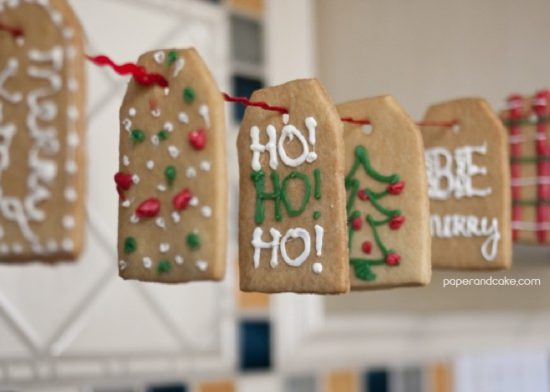 paper and cake holiday easy and moder gift tag cookie garland