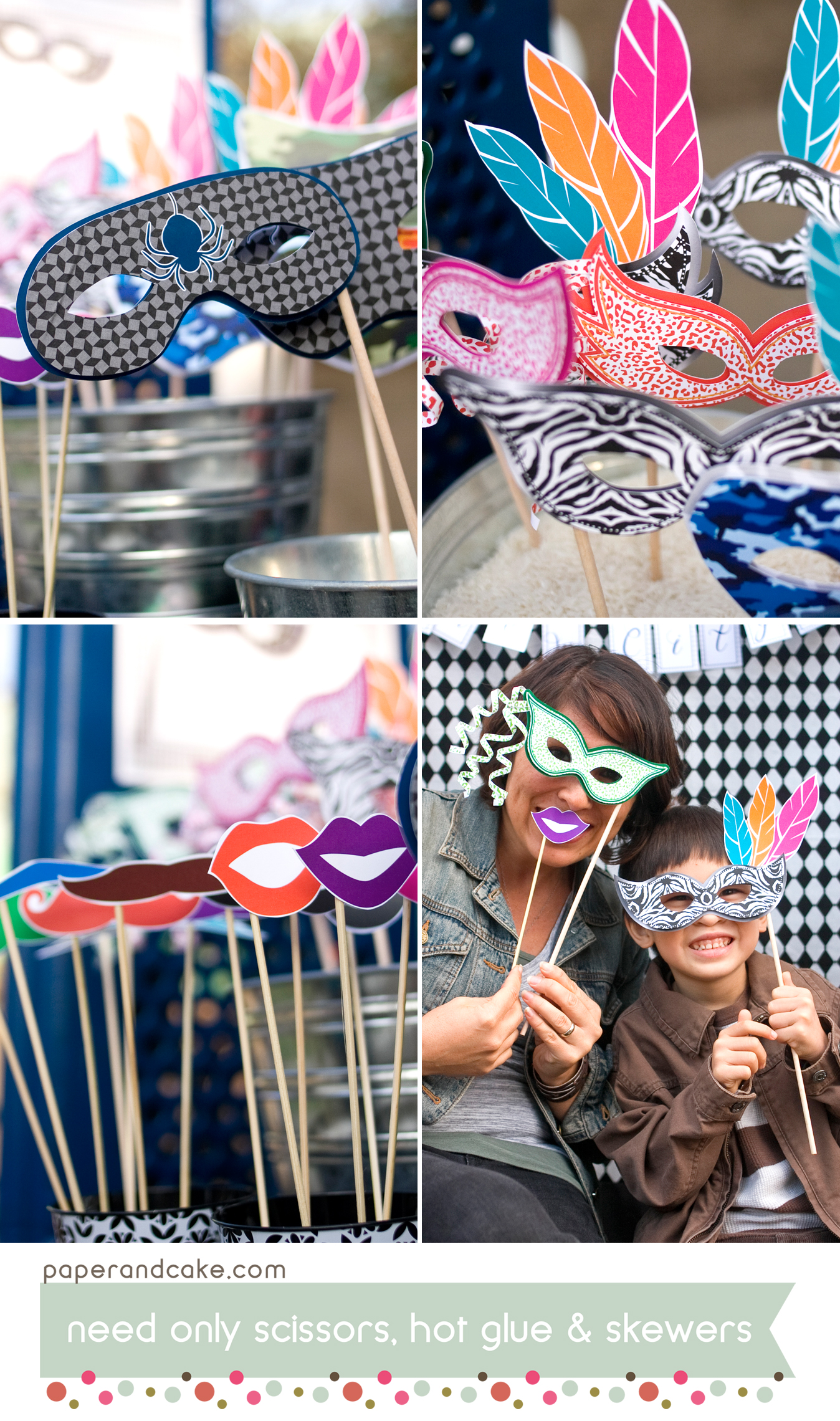 masquerade printable photo booth props paper and cake