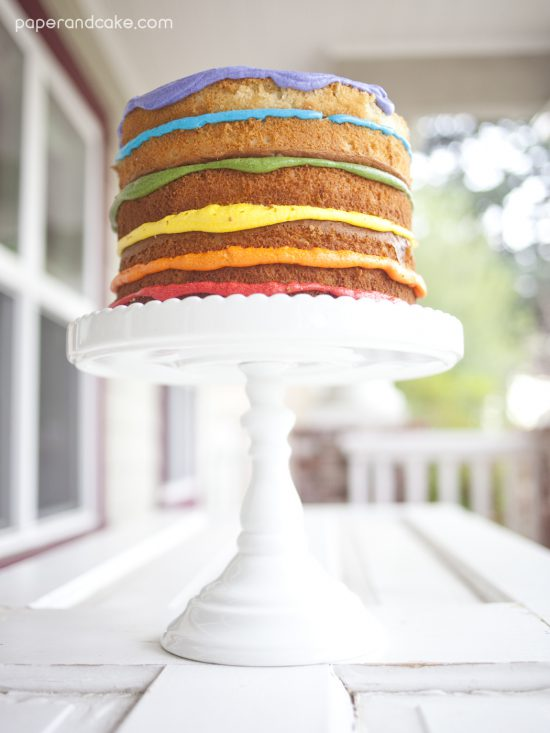 Paper & Cake printable partyware Naked Rainbow cake
