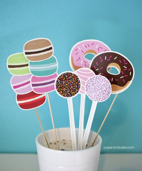 sweet shoppe printable photo booth props by paper & cake