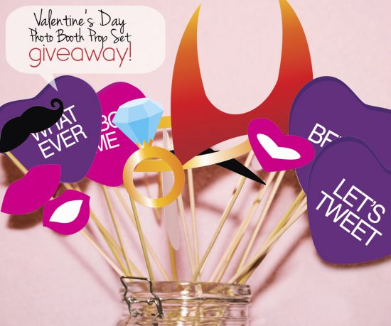 paper and cake Valentine's Day photo booth props giveaway