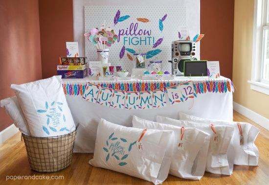 pillow fight sleepover party by Paper & Cake