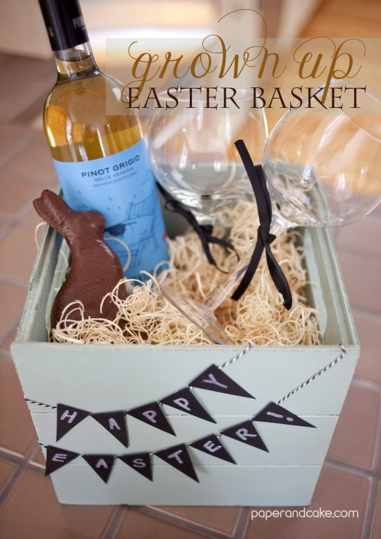 handmade easter basket from paper and cake