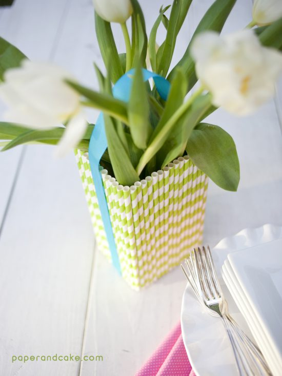Paper Straw Craft flower vase