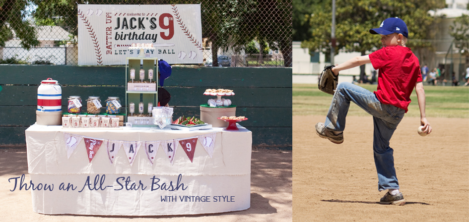 Printable Vintage Baseball Birthday Decorations by Paper and Cake