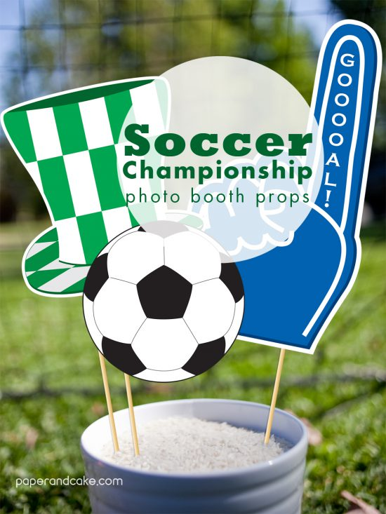 soccer photo booth props - printables