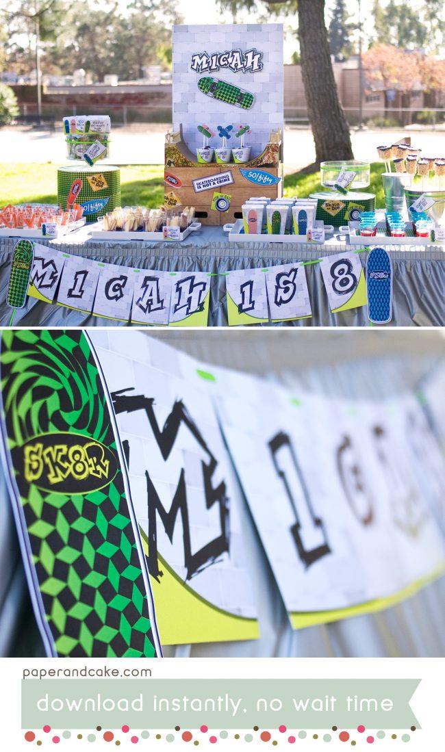 Skateboard Printable Birthday Party