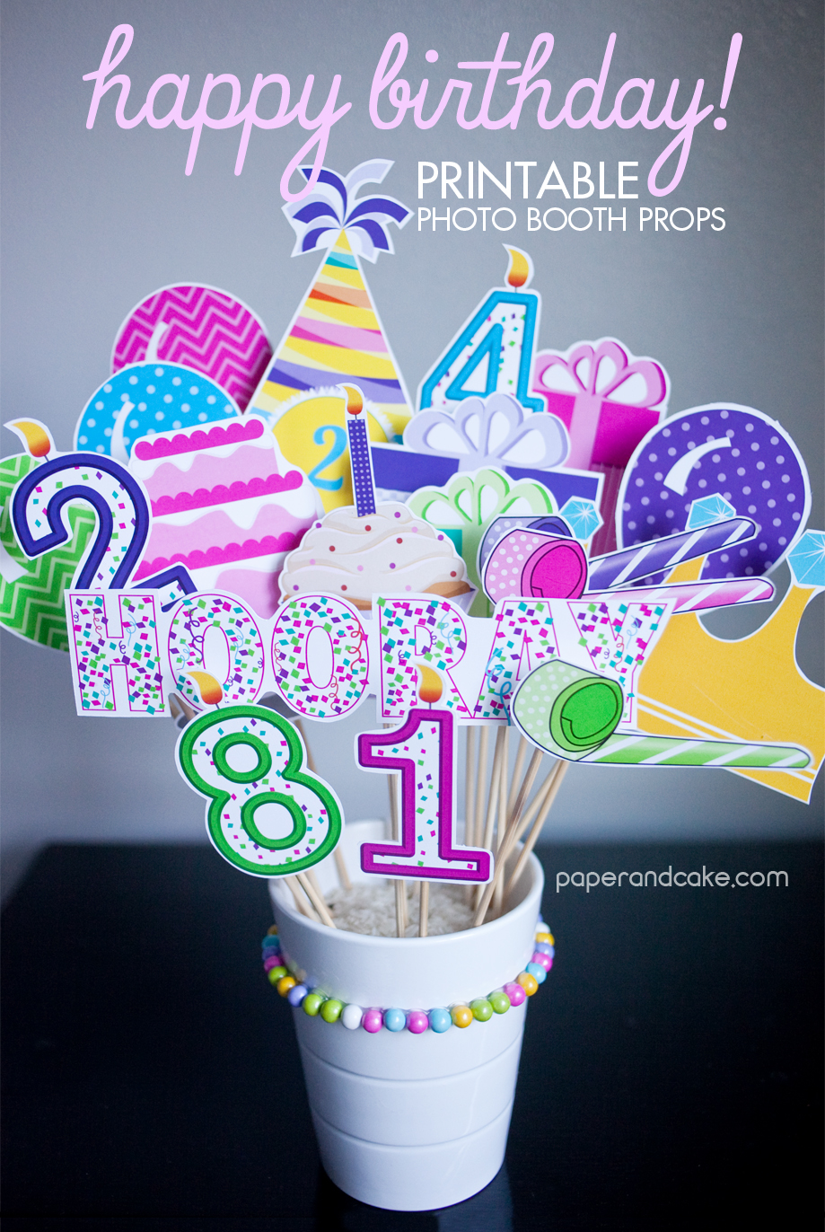 Birthday Party Printable Photo Props Paper And Cake